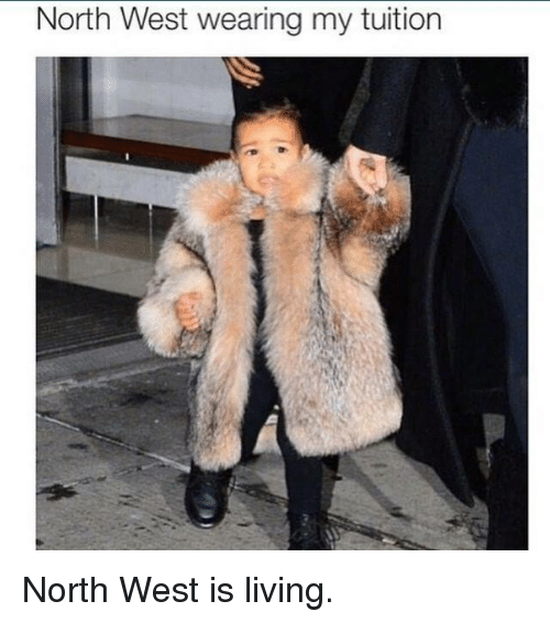 North West, Kardashian, and Celebrities: North West wearing my tuition North West is living.