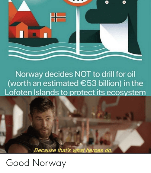 drill: Norway decides NOT to drill for oil  (worth an estimated 53 billion) in the  Lofoten Islands to protect its ecosystem  Because that's what heroes do. Good Norway