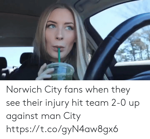 man city: Norwich City fans when they see their injury hit team 2-0 up against man City  https://t.co/gyN4aw8gx6