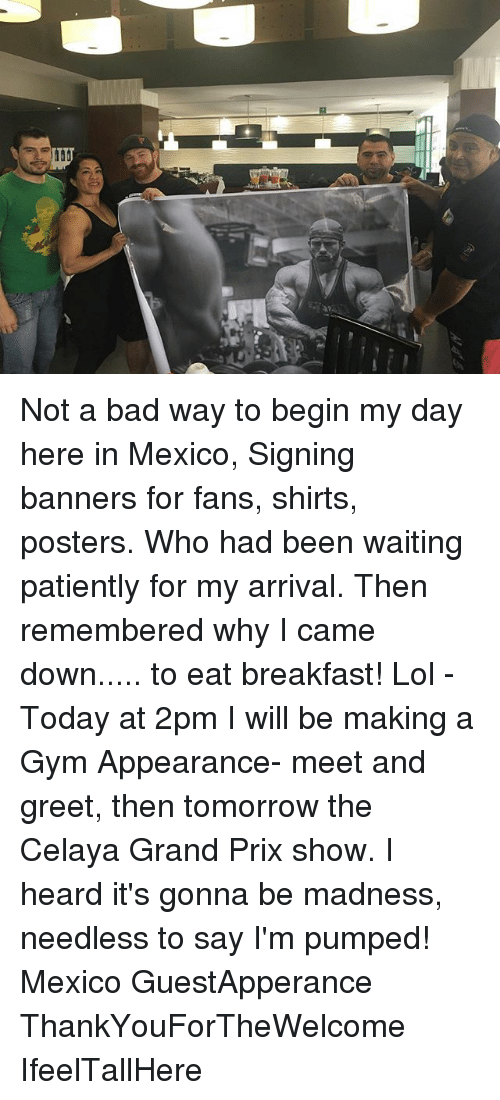 Waiting Patiently: Not a bad way to begin my day here in Mexico, Signing banners for fans, shirts, posters. Who had been waiting patiently for my arrival. Then remembered why I came down..... to eat breakfast! Lol - Today at 2pm I will be making a Gym Appearance- meet and greet, then tomorrow the Celaya Grand Prix show. I heard it's gonna be madness, needless to say I'm pumped! Mexico GuestApperance ThankYouForTheWelcome IfeelTallHere