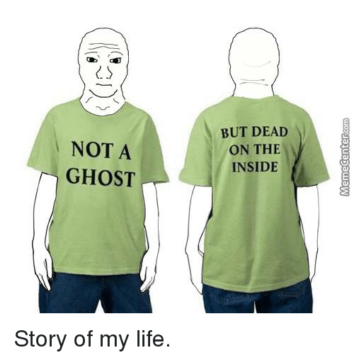 Memes, Ghost, and 🤖: NOT A  GHOST  BUT DEAD  ON THE  INSIDE Story of my life.