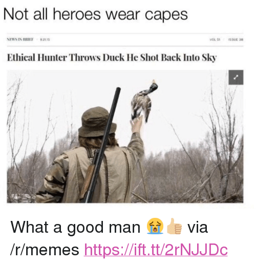"""ethical: Not all heroes wear capes  NEWS IN BRIEF 92115  Ethical Hunter Throws Duck He Shot Back Into Sky <p>What a good man 😭👍🏼 via /r/memes <a href=""""https://ift.tt/2rNJJDc"""">https://ift.tt/2rNJJDc</a></p>"""