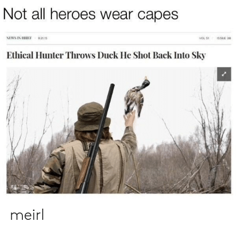 ethical: Not all heroes wear capes  NEWS IN BRIEF 92115  VOL 51  ISSUE 38  Ethical Hunter Throws Duck He Shot Back Into Sky meirl