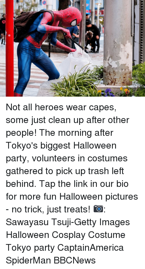 The Morning After: Not all heroes wear capes, some just clean up after other people! The morning after Tokyo's biggest Halloween party, volunteers in costumes gathered to pick up trash left behind. Tap the link in our bio for more fun Halloween pictures - no trick, just treats! 📷: Sawayasu Tsuji-Getty Images Halloween Cosplay Costume Tokyo party CaptainAmerica SpiderMan BBCNews