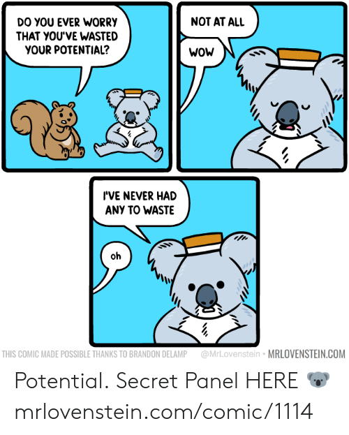 Not At All: NOT AT ALL  DO YOU EVER WORRY  THAT YOU'VE WASTED  YOUR POTENTIAL?  WOW  I'VE NEVER HAD  ANY TO WASTE  oh  @MrLovenstein MRLOVENSTEIN.COM  THIS COMIC MADE POSSIBLE THANKS TO BRANDON DELAMP Potential.  Secret Panel HERE 🐨 mrlovenstein.com/comic/1114