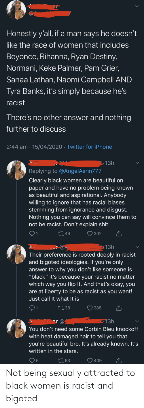 Sexually: Not being sexually attracted to black women is racist and bigoted