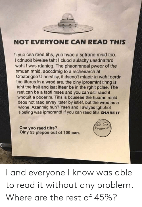 Tihs: NOT EVERYONE CAN READ THIS  fi yuo cna raed tihs, yuo hvae a sgtrane mnid too.  cdnuolt blveiee taht I cluod aulaclty uesdnatnrd  waht I was rdanieg. The phaonmneal pweor of the  hmuan mnid, aoccdrnig to a rscheearch at  Cmabrigde Uinervtisy, it dseno't mtaetr in waht oerdr  the Itteres in a wrod are, the olny iproamtnt tihng is  taht the frsit and Isat Itteer be in the rghit pclae. The  rset can be a taotl mses and you can sitll raed it  whotuit a pboerlm. Tihs is bcuseae the huamn mnid  deos not raed ervey Iteter by istlef, but the wrod as a  wlohe. Azanmig huh? Yaeh and I awlyas tghuhot  slpeling was ipmorantt! If you can raed tihs SHARE IT  Cna yuo raed tihs?  Olny 55 plepoe out of 100 can. I and everyone I know was able to read it without any problem. Where are the rest of 45%?