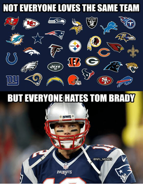 Memes, Nfl, and Tom Brady: NOT EVERYONE LOVES THE SAME TEAM  JETS  BUT EVERYONE HATES TOM BRADY  @NFL MEMES  PATROTS