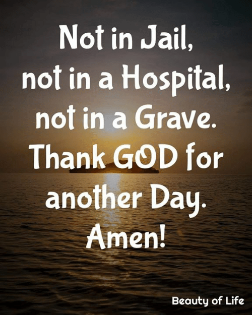 Another Day: Not in Jail,  not in a Hospital,  not in a Grave.  Thank GOD for  another Day.  Amen!  Beauty of Life
