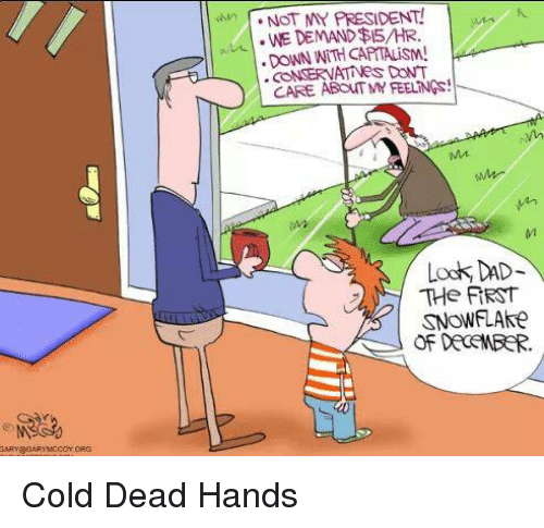 Dead Hand: NOT MY PRESIDENT!  WE DEMAND$15 HR.  DONN NITH CO  DONT  CARE ABOUT MY FEELNGs!  Mt.  Look DAD  The FIRST  SNOWFLAke  OF DECEMBER. Cold Dead Hands