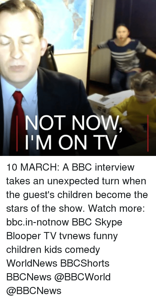 blooper: NOT NOW  I'M ON TV 10 MARCH: A BBC interview takes an unexpected turn when the guest's children become the stars of the show. Watch more: bbc.in-notnow BBC Skype Blooper TV tvnews funny children kids comedy WorldNews BBCShorts BBCNews @BBCWorld @BBCNews
