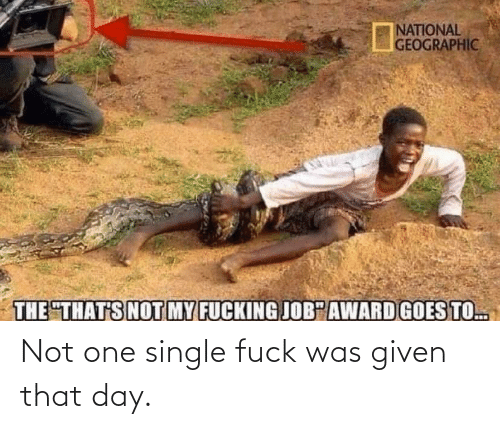Was Given: Not one single fuck was given that day.