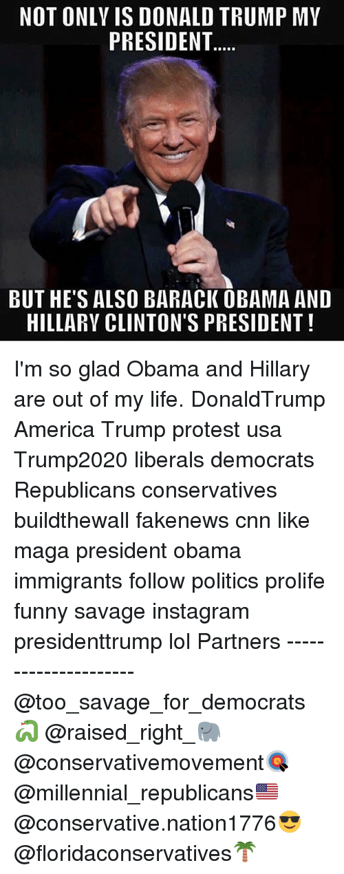 obama-and-hillary: NOT ONLY IS DONALD TRUMP MY  PRESIDENT  BUT HE'S ALSO BARACK OBAMA AND  HILLARY CLINTON'S PRESIDENT I'm so glad Obama and Hillary are out of my life. DonaldTrump America Trump protest usa Trump2020 liberals democrats Republicans conservatives buildthewall fakenews cnn like maga president obama immigrants follow politics prolife funny savage instagram presidenttrump lol Partners --------------------- @too_savage_for_democrats🐍 @raised_right_🐘 @conservativemovement🎯 @millennial_republicans🇺🇸 @conservative.nation1776😎 @floridaconservatives🌴