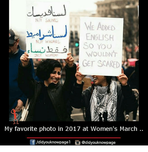 Women March: NOT SAINT  WE ADDED  ENGLISH  NJT WHOKES  So You  WOULDNT  WOMEN  GET SCARED  My favorite photo in 2017 at Women's March  didyouknowpagel  @didyouknow page