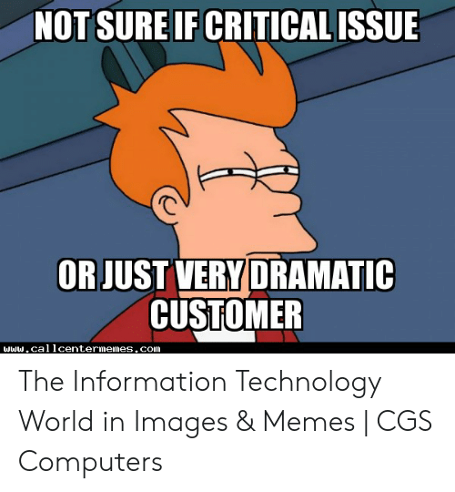 Technology Meme: NOT SURE IF CRITICALISSUE  OR JUST VERY DRAMATIC  CUSTOMER The Information Technology World in Images & Memes | CGS Computers