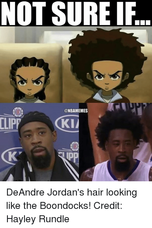 Nba, Not Sure If, and Sure: NOT SURE IF  @NBAMEMES  ILIPP GKII DeAndre Jordan's hair looking like the Boondocks! Credit: Hayley Rundle