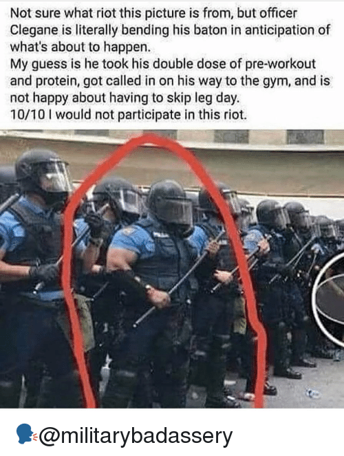 Gym, Memes, and Protein: Not sure what riot this picture is from, but officer  Clegane is literally bending his baton in anticipation of  what's about to happen.  My guess is he took his double dose of pre-workout  and protein, got called in on his way to the gym, and is  not happy about having to skip leg day.  10/10 I would not participate in this riot. 🗣@militarybadassery