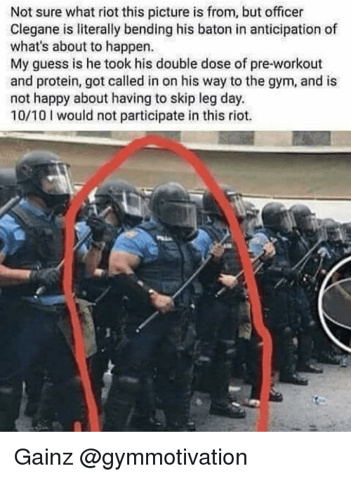 Gym, Memes, and Protein: Not sure what riot this picture is from, but officer  Clegane is literally bending his baton in anticipation of  what's about to happen.  My guess is he took his double dose of pre-workout  and protein, got called in on his way to the gym, and is  not happy about having to skip leg day.  10/10 would not participate in this riot. Gainz @gymmotivation
