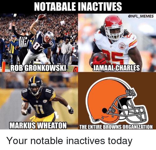 Jamaal Charles: NOTABALEINACTIVES  @NFL MEMES  ROBGRONKOWSKI  JAMAAL CHARLES  CL  MARKUS WHEATON  THE ENTIRE BROWNSORGANIZATION Your notable inactives today