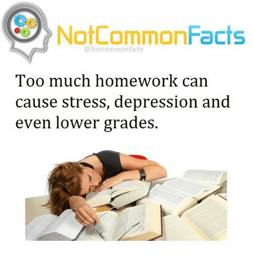 Too Much Homework: NotCommonFacts  @Notcommon facts  Too much homework can  cause stress, depression and  even lower grades