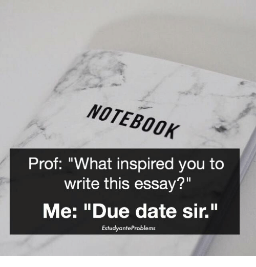 "what inspired you: NOTEBOOK  Prof: ""What inspired you to  write this essay?""  Me: ""Due date sir.""  Estudyante Problems"
