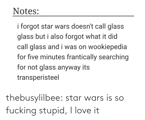 Forgot: Notes:  i forgot star wars doesn't call glass  glass but i also forgot what it did  call glass and i was on wookiepedia  for five minutes frantically searching  for not glass anyway its  transperisteel thebusylilbee:  star wars is so fucking stupid, I love it