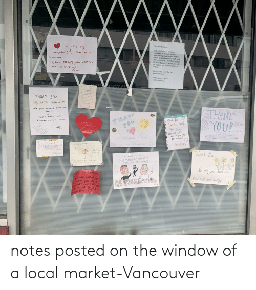notes: notes posted on the window of a local market-Vancouver