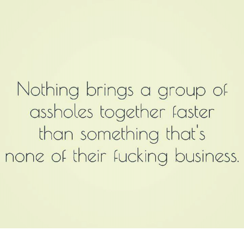 Asshols: Nothing brings a group of  assholes together faster  than something that's  none of their fucking business