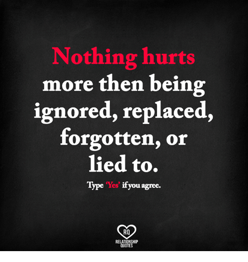 Memes, Quotes, and 🤖: Nothing hurts  more then being  ignored, replaced,  forgotten, or  lied to.  Type Yes' if you agree.  RO  RELATIONSHIP  QUOTES