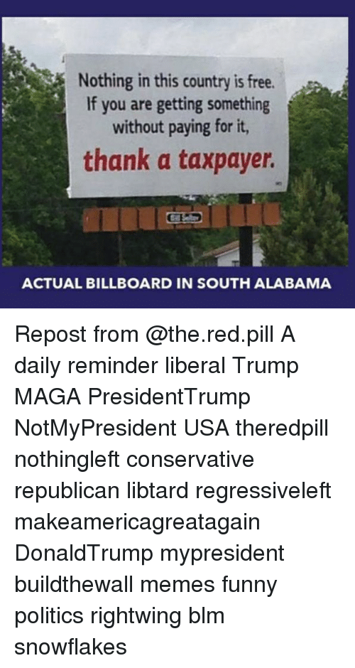 Billboard, Funny, and Memes: Nothing in this country is free.  If you are getting something  without paying for it,  thank a taxpayer.  ACTUAL BILLBOARD IN SOUTH ALABAMA Repost from @the.red.pill A daily reminder liberal Trump MAGA PresidentTrump NotMyPresident USA theredpill nothingleft conservative republican libtard regressiveleft makeamericagreatagain DonaldTrump mypresident buildthewall memes funny politics rightwing blm snowflakes