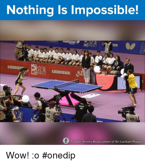 Impossibility: Nothing is Impossible!  PERFECT  D  LIEBHE  LIEBHERR  08  60  HB  f Table Tennis Association of Sri-Lankan Players Wow! :o #onedip