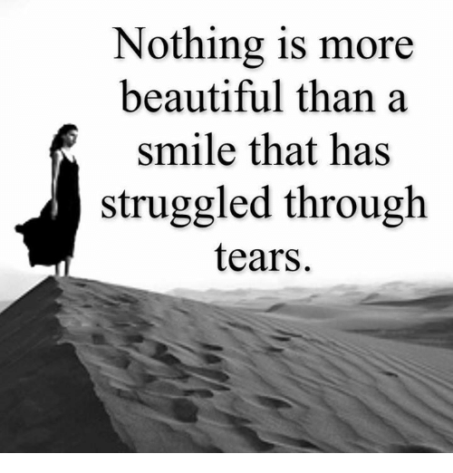 memes: Nothing is more  beautiful than a  smile that has  struggled through  tears.
