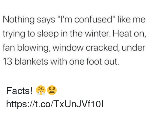 "Im Confused: Nothing says ""I'm confused"" like me  trying to sleep in the winter. Heat on,  fan blowing, window cracked, under  13 blankets with one foot out. Facts! 😤😫 https://t.co/TxUnJVf10I"