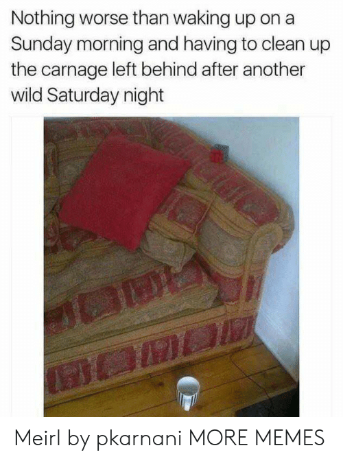 Carnage: Nothing worse than waking up on a  Sunday morning and having to clean up  the carnage left behind after another  wild Saturday night Meirl by pkarnani MORE MEMES