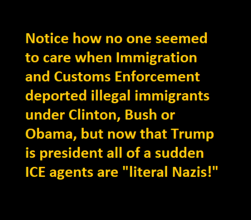 "clinton bush: Notice how no one seemed  to care when Immigration  and Customs Enforcement  deported illegal immigrants  under Clinton, Bush or  Obama, but now that Trump  is president all of a sudden  ICE agents are ""literal Nazis!"""