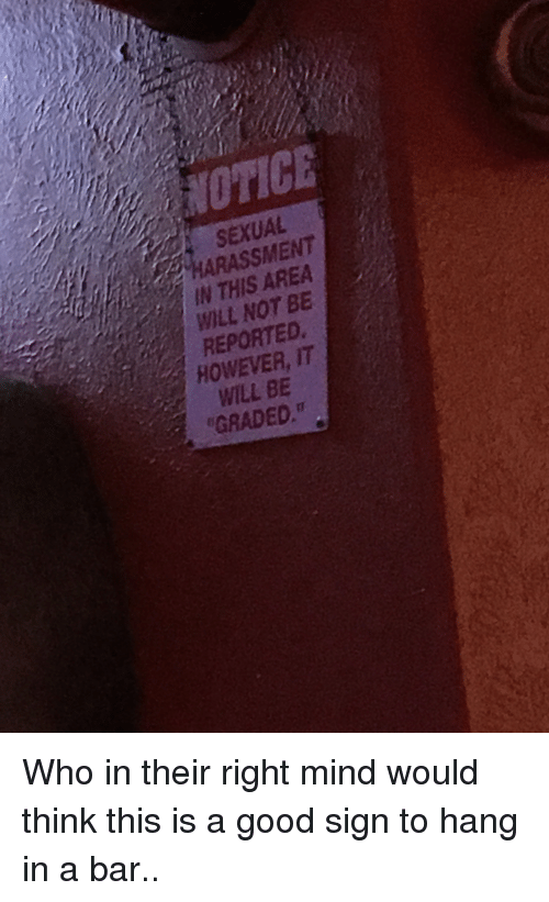 Good, Mind, and Trashy: NOTICE  SEXUAL  ARASSMENT  IN THIS AREA  WILL NOT BE  REPORTED  HOWEVER, IT  WILL BE  GRADED Who in their right mind would think this is a good sign to hang in a bar..