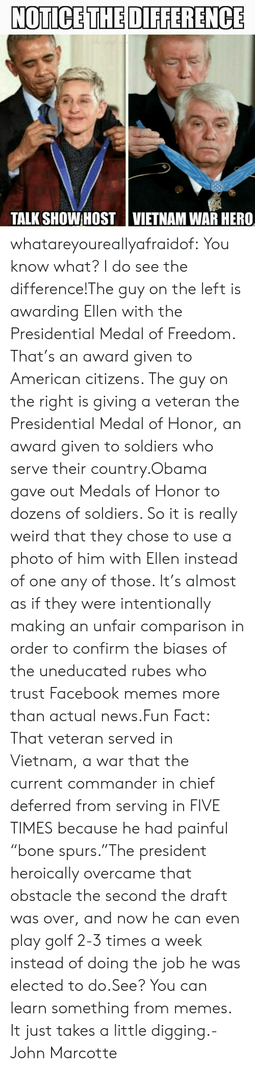 """Medal Of Freedom: NOTICE THE DIFFERENCE  TALK SHOWHOST 