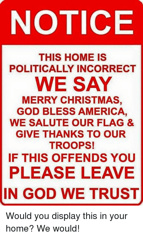 America, Christmas, and God: NOTICE  THIS HOME IS  POLITICALLY INCORRECT  WE SAY  MERRY CHRISTMAS,  GOD BLESS AMERICA,  WE SALUTE OUR FLAG &  GIVE THANKS TO OUR  TROOPS!  IF THIS OFFENDS YOU  PLEASE LEAVE  IN GOD WE TRUST Would you display this in your home? We would!