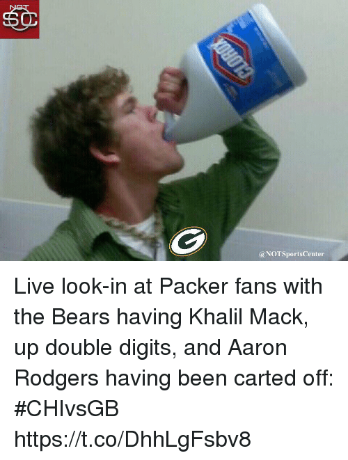 Packer Fans: @NOTSportsCenter Live look-in at Packer fans with the Bears having Khalil Mack, up double digits, and Aaron Rodgers having been carted off: #CHIvsGB https://t.co/DhhLgFsbv8