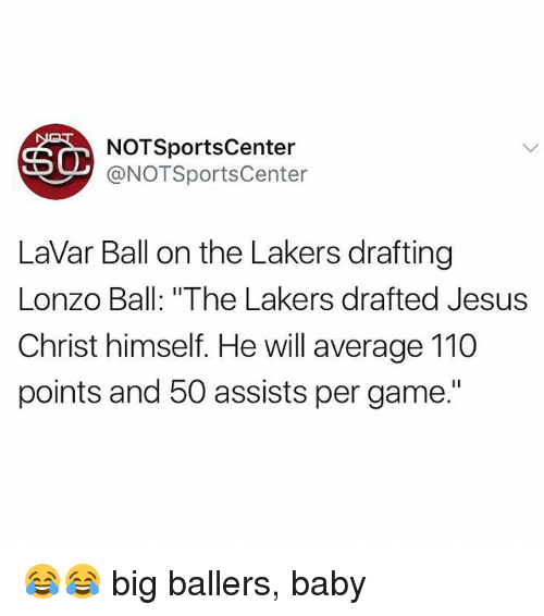 "Andrew Bogut, Jesus, and Los Angeles Lakers: NOTSportsCenter  @NOTSportsCenter  LaVar Ball on the Lakers drafting  Lonzo Ball: ""The Lakers drafted Jesus  Christ himself. He will average 110  points and 50 assists per game."" 😂😂 big ballers, baby"