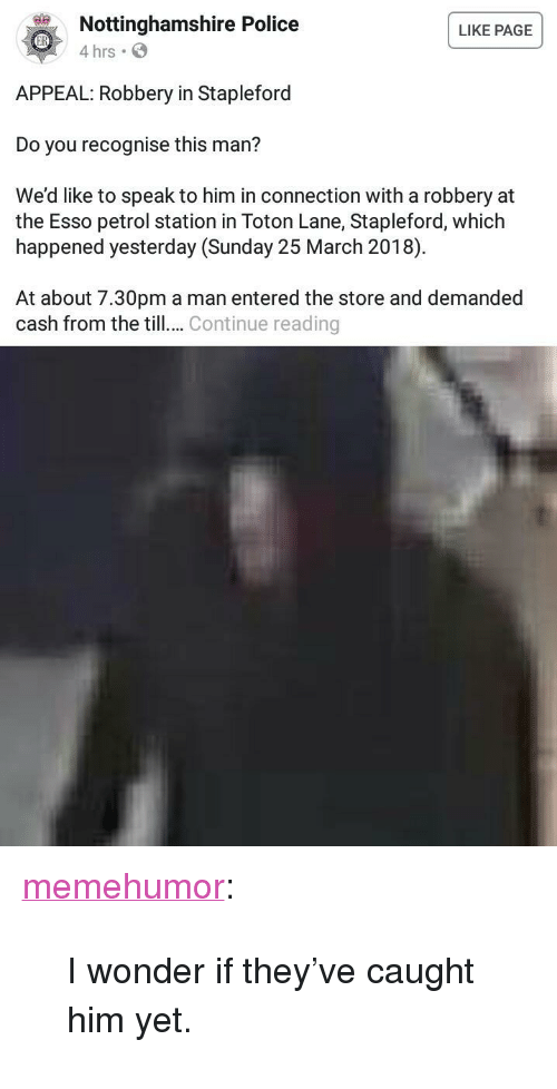 """Police, Tumblr, and Blog: Nottinghamshire Police  4 hrs  LIKE PAGE  APPEAL: Robbery in Stapleford  Do you recognise this man?  We'd like to speak to him in connection with a robbery at  the Esso petrol station in Toton Lane, Stapleford, which  happened yesterday (Sunday 25 March 2018)  At about 7.30pm a man entered the store and demanded  cash from the till.. Continue reading <p><a href=""""http://memehumor.net/post/172283890068/i-wonder-if-theyve-caught-him-yet"""" class=""""tumblr_blog"""">memehumor</a>:</p>  <blockquote><p>I wonder if they've caught him yet.</p></blockquote>"""