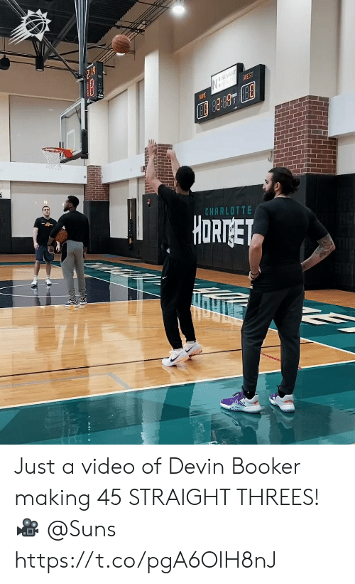 Devin: NOVANT  GUEST  AME  CHARLOTTE  HORTGET Just a video of Devin Booker making 45 STRAIGHT THREES!   🎥 @Suns https://t.co/pgA6OIH8nJ