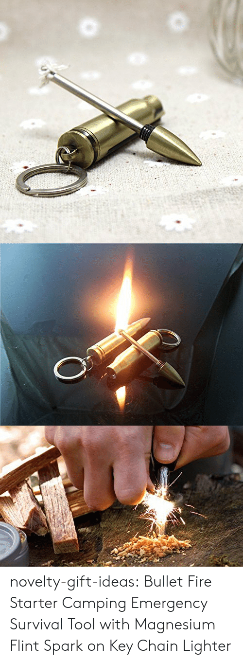 magnesium: novelty-gift-ideas:  Bullet Fire Starter Camping Emergency Survival Tool with Magnesium Flint Spark on Key Chain Lighter