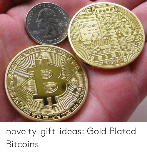 plated: novelty-gift-ideas:  Gold Plated Bitcoins