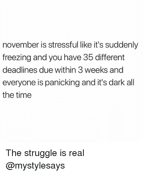 Struggle, The Struggle Is Real, and Time: november is stressful like it's suddenly  freezing and you have 35 different  deadlines due within 3 weeks and  everyone is panicking and it's dark all  the time The struggle is real @mystylesays