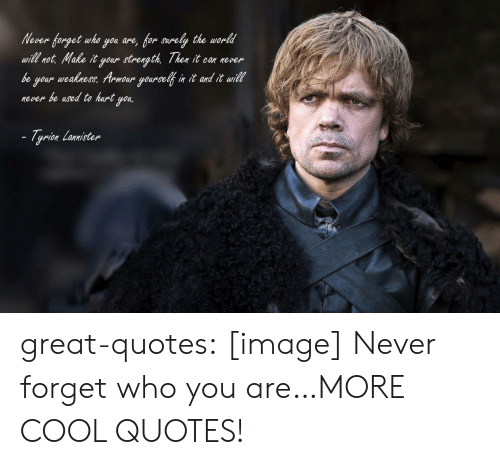 Tumblr, Blog, and Cool: Nover forget who you ane, for arely the wordl  wil not, Nake it your strength Then it can never  be your weabness Armoar yourse n it ond it wil  never be used to hart you.  witt ro  - Tyrion Lonmisten great-quotes:  [image] Never forget who you are…MORE COOL QUOTES!