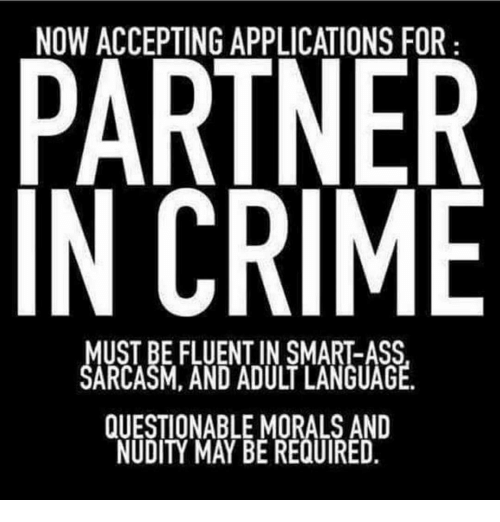 Ass, Crime, and Memes: NOW ACCEPTING APPLICATIONS FOR  PARTNER  IN CRIME  MUST BE FLUENT IN SMART-ASS  SARCASM, AND ADULT LANGUAGE  QUESTIONABLE MORALS AND  NUDITY MAY BE REQUIRED