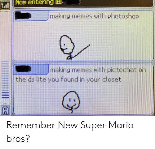 ds lite: Now entering A  711  making memes with photoshop  making memes with pictochat on  the ds lite you found in your closet  A Remember New Super Mario bros?