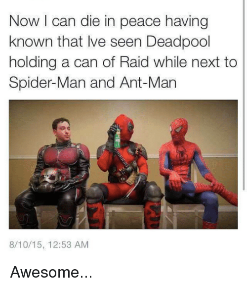 ant man: Now I can die in peace having  known that Ive seen Deadpool  holding a can of Raid while next to  Spider-Man and Ant-Man  8/10/15, 12:53 AM Awesome...