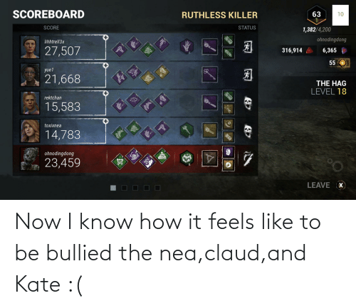 Claud: Now I know how it feels like to be bullied the nea,claud,and Kate :(